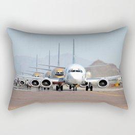 Boeing 737 takeoff lineup Rectangular Pillow