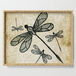 Dragonflies on tan texture Serving Tray