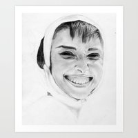 audrey Art Prints featuring Audrey by Belay