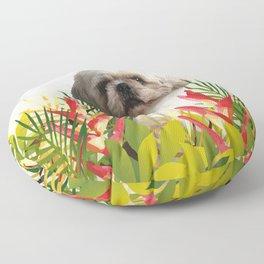 Paul Top Model - shih tzu dog - jungle leaves Floor Pillow