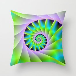Turquoise Lilac and Green Spiral Throw Pillow