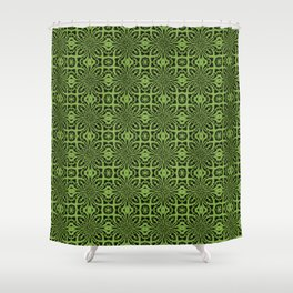 Greenery Geometric Floral Abstract Shower Curtain