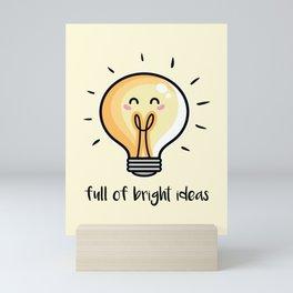 Kawaii Cute Lightbulbs Mini Art Print