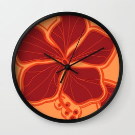 Kailua Hibiscus Hawaiian Sketchy Floral Design Wall Clock