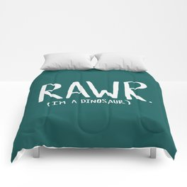 Rawr. I'm a Dinosaur. Turquoise. Comforters