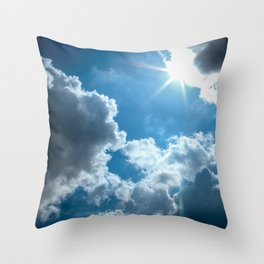 Bright and sunny London sky Throw Pillow