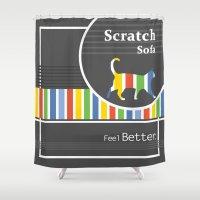 sofa Shower Curtains featuring Scratch Sofa Feel Better by Krokoneil