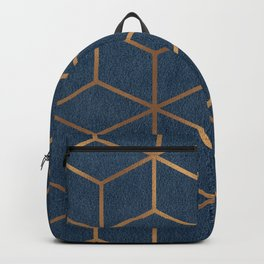 Dark Blue and Gold - Geometric Textured Cube Design Backpack