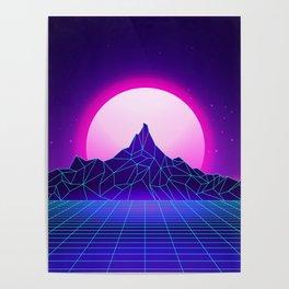 Retro Vaporwave Mountain Poster
