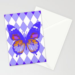 ABSTRACTED PURPLE BUTTERFLY  &  LILAC ARGYLE PATTERN Stationery Cards
