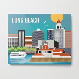 Long Beach, California - Skyline Illustration by Loose Petals Metal Print