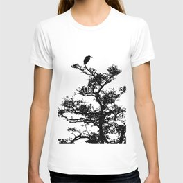 LITTLE EGRET ON THE LOOKOUT BLACK ON WHITE T-shirt