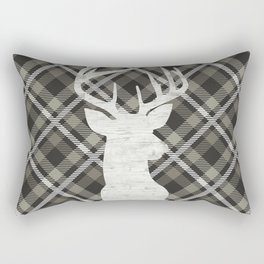 Stag, Deer,Country Decor, Rustic, Plaid, Brown and Beige Rectangular Pillow