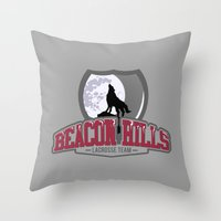 lacrosse Throw Pillows featuring Teen wolf - Beacon hills lacrosse team by Little wadoo