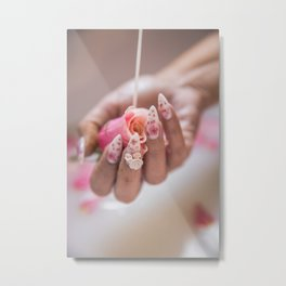 Milk Bath Roses Metal Print