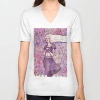 daenerys V-neck T-shirts featuring Waiting by Verismaya
