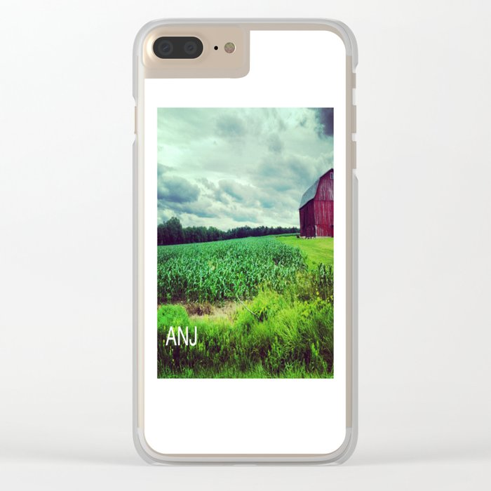 Red Barn on a Rainy Cloudy Day Clear iPhone Case
