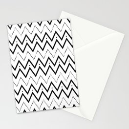 Black lines and dots pattern Stationery Cards