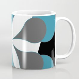 Mid-Century Modern Art 1.4B Grey Aqua Flower Coffee Mug