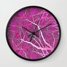 Interconnected Paths (hot magenta-pink) Wall Clock