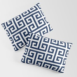 Dark Navy Blue and White Greek Key Pattern Pillow Sham
