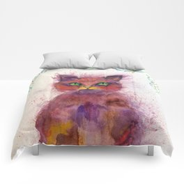 Green Eyes Colorful Cat Comforters