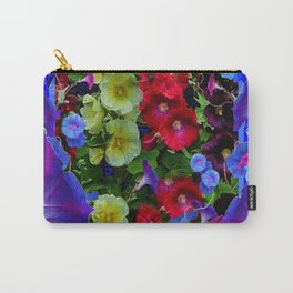 HOLLYHOCKS & MORNING GLORIES COTTAGE BLUE ART Carry-All Pouch