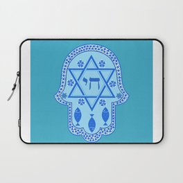 Hamsa for blessings, protection and strength - Turquoise Laptop Sleeve
