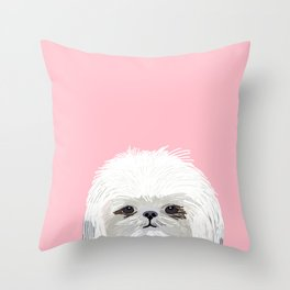 Shih Tsu dog portrait pink cute art gifts for dog breed lovers Throw Pillow