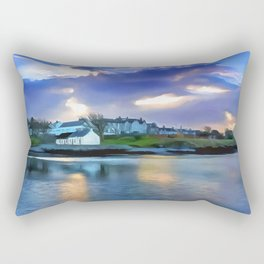 Cockle Row Cottages, Ireland. (Painting) Rectangular Pillow