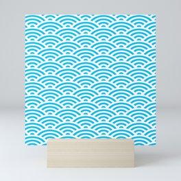 Aqua Seigaiha Wave Crest Mini Art Print