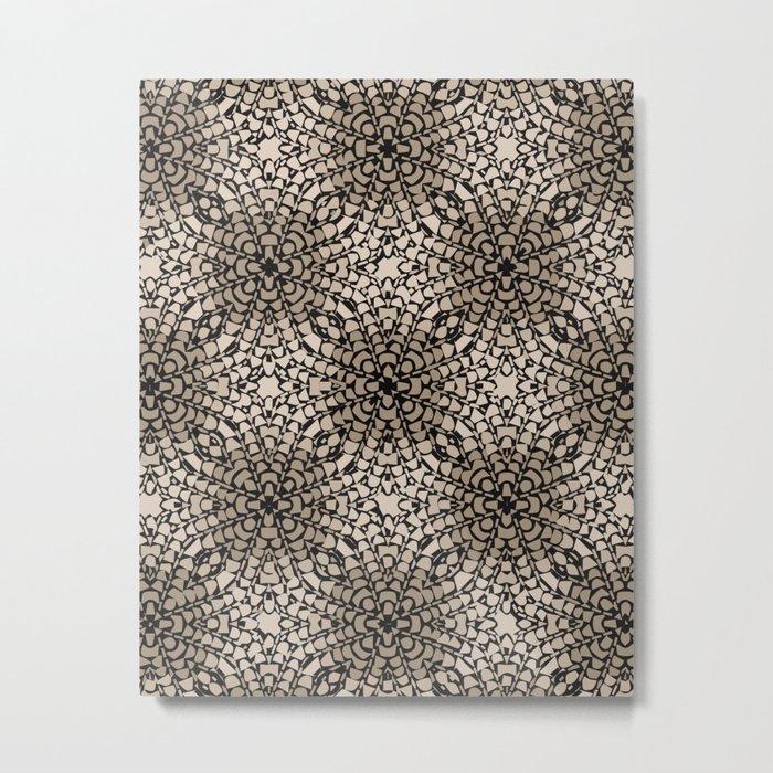 Black and Tan Geometric Modern Chrysanthemum Pattern Metal Print