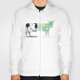 the black and white cow who wanted to be colorfully geometric  Hoody