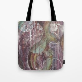 Purple fractal with circles Tote Bag