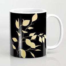 Leaves Gold on Black Mug