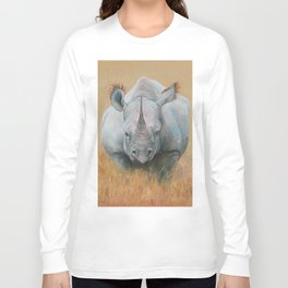 RHINOCEROS African animal Safari style Realistic pastel drawing Long Sleeve T-shirt