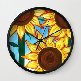 Three Sunflowers Wall Clock