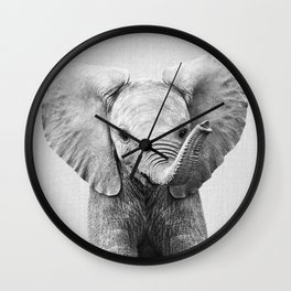Baby Elephant - Black & White Wall Clock