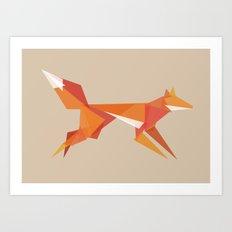 Fractal geometric fox Art Print