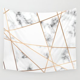 White, Gray, Gold Marble Geometric Pattern Wall Tapestry