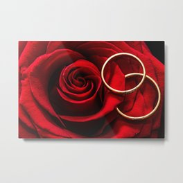Rose and Wedding Rings Metal Print
