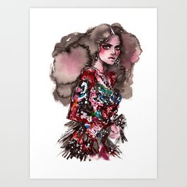 Fashion illustration. Model in a lace dress Art Print