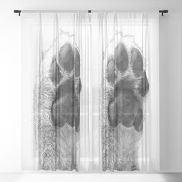 Black and White Dog Paw Sheer Curtain
