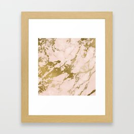 Champagne Blush Marble Framed Art Print