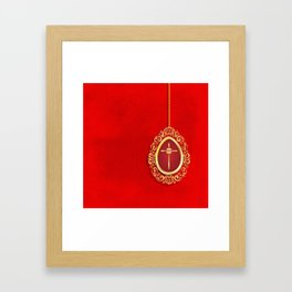 Beautiful red egg with gold cross on rich vibrant texture Framed Art Print
