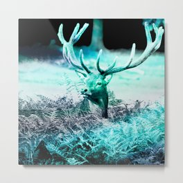 meadow elk turquoise aesthetic wildlife art altered photography Metal Print