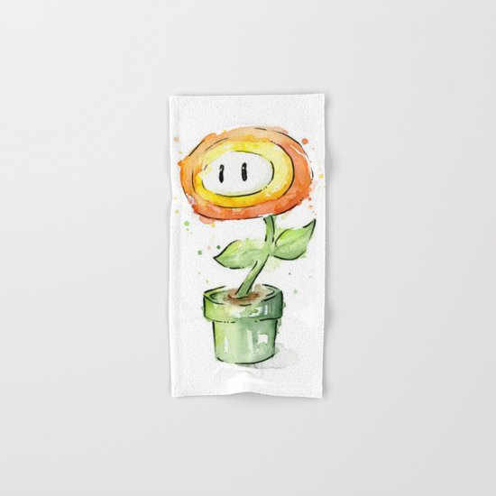 Fireflower Watercolor Painting Hand & Bath Towel