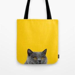 British Short-haired Cat Saffron Yellow Home Decor Pet Lovers Art Grey British Tote Bag