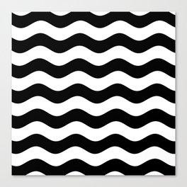 Wavy Stripes (Black/White) Canvas Print