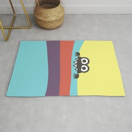 Yummy Colorful Stripes Cute Cartoon Character Rug